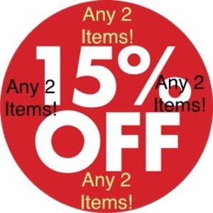 Any 2 items get 15% off